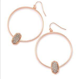 Elora Earrings Rose Gold & Platinum Drusy